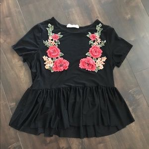 Black floral peplum